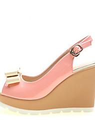 Women's Sandals Comfort PU Summer Casual Comfort Almond Light Blue Blushing Pink Blue Green 3in-3 3/4in