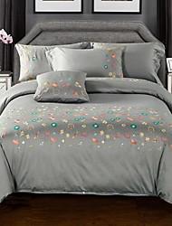 Embroidery 4 Piece Cotton Cotton 1pc Duvet Cover 2pcs Shams 1pc Flat Sheet