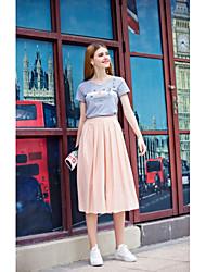 Feminino Simples Cintura Alta Inelástico Perna larga Calças,Perna larga Sólido