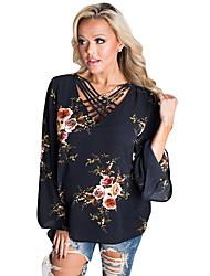 Tee-shirt Femme,Imprimé Soirée Quotidien Sexy Eté Manches Longues Col en V Polyester Spandex Moyen