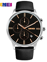 SKMEI Brand Military Watches Men Quartz Analog 6 Pointer Leather Clock Man Sports Watches