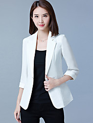 Women's Office & Career Formal Work Spring/Fall Summer Jacket,Solid V Neck 3/4 Length Sleeve Short Polyester