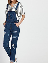 Women's High Waist Micro-elastic Overalls Pants,Sexy Simple Relaxed Straight Pure Color Solid Textured