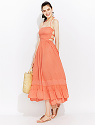Women's Going out Trumpet/Mermaid Dress,Solid Halter Midi Sleeveless Cotton Summer High Rise Micro-elastic Thin