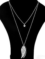 Mujer Collares con colgantes Collares de cadena Collares en capas Cristal Alas / Pluma Brillante Legierung Diseño Único Colgante