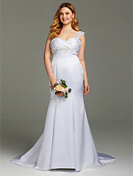 Mermaid / Trumpet Straps Court Train Satin Wedding Dress with Beading Appliques Criss Cross Ruching by LAN TING BRIDE®