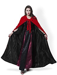 Cosplay Costumes Halloween Hooded Cloak Wedding Cape Wizard/Witch Ghost Vampire Party Masquerade Red Velvet/Black Silk