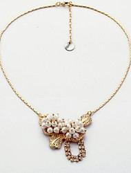 Women's Pendant Necklaces Imitation Pearl Rhinestone Round Flower Alloy Love Sexy Fashion Luxury Jewelry ForWedding Party Engagement