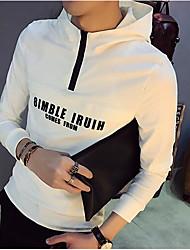 Men's Casual Hoodie Solid Hooded Inelastic Cotton Long Sleeve Spring