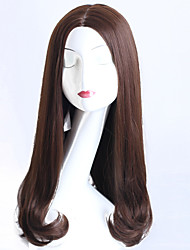 Hot Selling Brown Color Long Wave Women Wigs Heat Resisting Cospaly Syntheitc Wigs