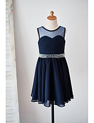 Vestido de menina de flor de joelho com uma linha de joias - Bolso de jóia sem molho chiffon com beading