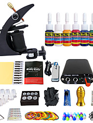 kits de tatouage pour débutants 1 x Machine à tatouer en fonte pour le traçage et l'ombrage Mini source d'alimentation5 x Aiguilles de