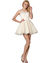 Princesse bijou col short / mini chiffon en dentelle cocktail robe de soirée avec dentelle