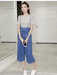 Manches Ajustées Pantalon Costumes Femme,Couleur Pleine Rayé Quotidien Décontracté Vêtements de Plein Air simple Eté Manches CourtesCol