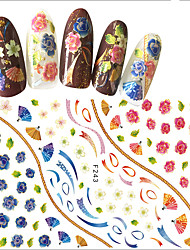 1pcs Nail Art 3D Sticker Folk-custom Style Beautiful Mixed Blue Flower& Red Flower Fan Pattern Design Creative Charming Nail Beauty Decoration F243