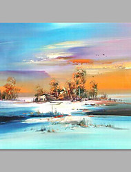 IARTS® Hand Painted Modern Abstract Snow Filed Landscape Oil Painting On Canvas with Stretched Frame Wall Art For Home Decoration Ready To Hang