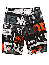 Men's Quick-Drying Breathable Bottoms Print Beach/Swim Shorts Polyester Summer Orange/Blue/Green