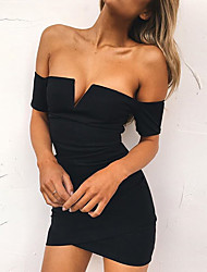 Women's Casual/Daily Sexy Cute A Line Dress,Solid V Neck Above Knee Short Sleeve Spandex Spring Summer Mid Rise Micro-elastic Medium