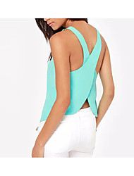 Women's Casual/Daily Sexy Summer Tank Top,Solid Round Neck Sleeveless Others Medium