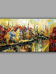 Hand-Painted Knife Venice Oil Painting Abstract City Scenery Wall Art With Stretcher Frame Ready To Hang