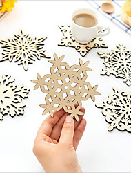 6 Piece / Set Creative Home Insulation Pad/Snowboard Mat/Anti-Hot Table Mat/Wooden Coaster/Christmas Decoration