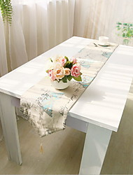 Korean Cotton And Linen Butterfly Design Fresh Table Flag Table Cloth 30*180cm