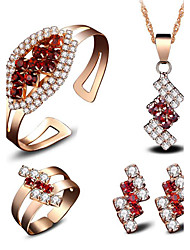 May Polly Europe and America plated 18 K gold fashion crystal necklace earrings rings bracelets banquet packages