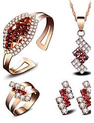 Dámské Svatební šperky Soupravy Kubický zirkon imitace Ruby Módní Euramerican Geometric Shape Pro Svatební Párty Večírek Na denSvatební