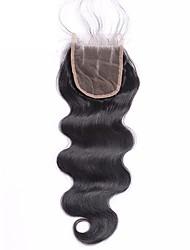 4x4 бразильские виргинские волосы кружева верхней крышки тела волна 3 часть 8-20inch человеческих волос кружева закрытия