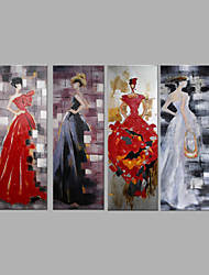 IARTS® Hand Painted Oil Painting Set of 4 Lady in Evening Dinner Dress Wall Art Acrylic Canvas Wall Art For Home Decoration