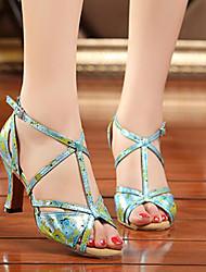 Damen Tanz-Turnschuh Echtes Leder PU Sandalen Sneakers Innen Blockabsatz Gold Blau 5 - 6,8 cm