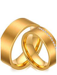 2PCS Couple's Rings Simple Elegant Cubic Zirconia Titanium Steel Ring Jewelry For Wedding Anniversary Engagement