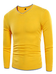 Men's Plus Size Simple Street chic Regular Pullover,Solid Color Block Simple V Neck Long Sleeve Cotton Spring Fall Medium Stretchy