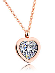 New product Han edition of titanium steel rose gold inlay zircon female love pendant necklace Fashion clavicle short chain
