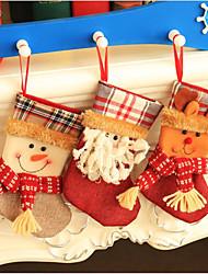 Christmas Stocking Small plaid Santa Claus sock gift bag kids xmas decoration candy bag bauble Christmas tree ornaments supplies