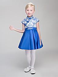 Prinzessin kurz / Mini Blume Mädchen Kleid - Satin Chiffon ärmellosen hohen Hals mit Spitze