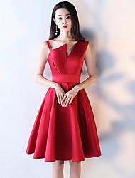 Une ligne de bretelles court / mini robe de cocktail en taffetas