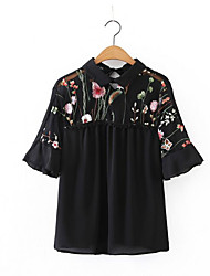 Damen Stickerei Einfach Alltag Normal T-shirt,Hemdkragen Halbe Ärmel Polyester