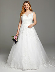2017 LAN TING BRIDE Plus Size A-line Wedding Dress - Lacy Look See-Through Beautiful Back Court Train Bateau Lace Tulle