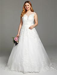 Corte en A Escote Corte Encaje Tul Vestido de novia con Apliques Botones Fajas / Cintas por LAN TING BRIDE®