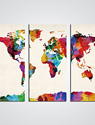 Stretched Canvas Print World Map Painting Modern Pop  Art for  Wall Decoration Ready to Hang
