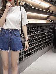 Для женщин Повседневные Лето Как у футболки Брюки Костюмы Круглый вырез,На каждый день Контрастных цветов Джинсы 1/2 Length Sleeve
