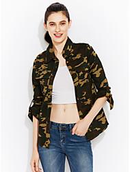 Для женщин На каждый день Куртка Камуфляж