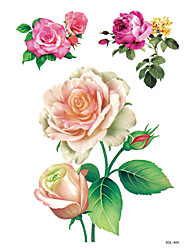 Set of 3 Pcs Temporary Tattoos Leg Body Flower Series 3D Rose Waterproof Tattoos Stickers Non Toxic Glitter Large Fake Tattoo Halloween Gift 22*15cm