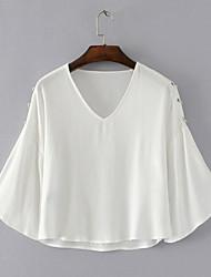 Damen Solide Einfach Alltag Normal T-shirt,V-Ausschnitt Langarm Polyester