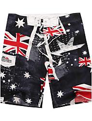 Men's Quick-Drying Breathable Bottoms Australian Flag Prints Beach/Swim Shorts Polyester Summer Black