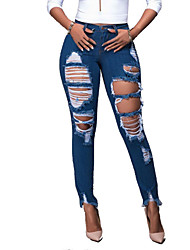Women's High Rise strenchy Hole All Match Hin Thin Fashion Classic Jeans PantsStreet chic Simple Skinny Ripped Solid