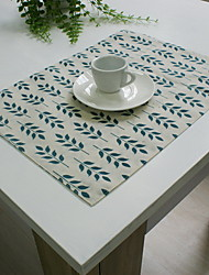 Korean Small Leaf Insulation Double Sided Cotton And Linen Material Table Placemat 32*45cm