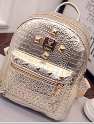 Damen Taschen Ganzjährig PU Rucksack mit für Normal Gold Schwarz Silber