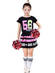 Costumes de Pom-Pom Girl Tenue Femme Spectacle Polyester Ornements Fantaisie 2 Pièces Manche courte Taille haute Jupes Hauts